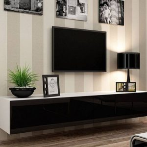 Black and white floating Tv stand
