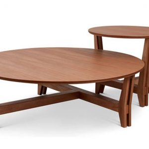 Round coffee table with a stool