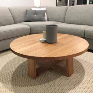 Circular mahogany coffee table