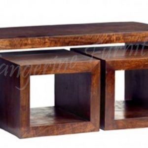 Coffee table with two nesting stools