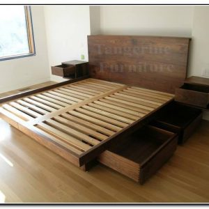 Queen size bed with under and side drawers