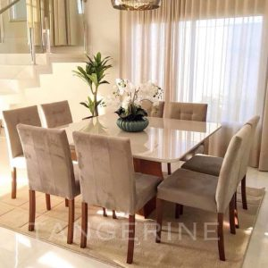 8-Seater, square dining set with tufted seats