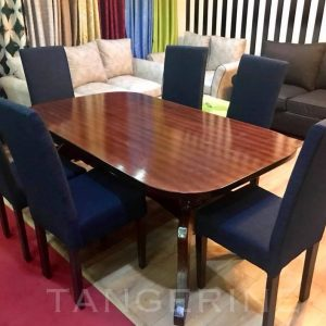 6-Seater Dining set with Navy Blue Chairs