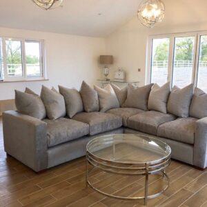 Crushed velvet sectional sofa