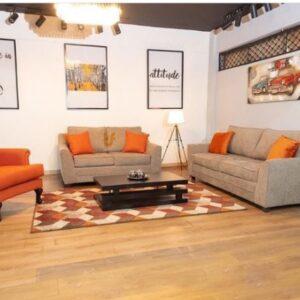 Mocha and  Burnt Orange Sofa + Accent Chair